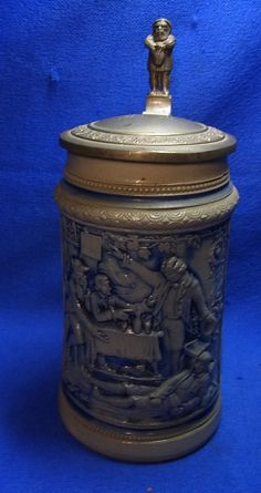 Antique German Lidded Beer Stein Crackerbarrel Motive Gnome Tin Top #XX