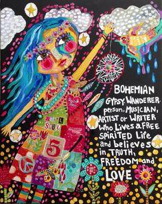 Mixed Media Folk Art Bohemian Girl on Etsy, $220.00