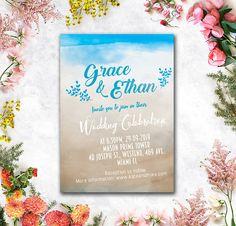 Blue #Sand #Beach by WeddingSundaeShop #weddingshower #bridalshower #wedding #invitation   #printable #flowers #pink #etsy #weddingcard   #savethedate#weddinginvitation #card #watercolor #blue  #weddingsundae