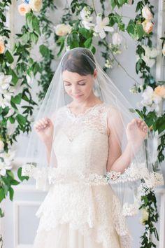 Stunning lace edge veil
