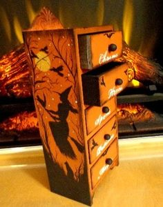 Primitive Witches Halloween Magic Spells Potions Charms Hexes Wooden Chest | eBay
