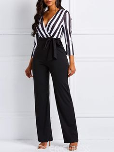 Model: Skinny Length: Full Length Trousers Shape: Wide Legs Elasticity: Inelastic Pattern: Stripe,Color Block Embellishment: Patchwork,Lace-Up Style: Office Lady * Size Waist Hips Total Length Bust cm inch cm inch cm inch cm inch M L 39 Jumper Outfit, Jumpsuit Outfit, Casual Jumpsuit, Chic Outfits, Fashion Outfits, Women's Fashion, Plus Jumpsuit, Satin Jumpsuit, White Jumpsuit