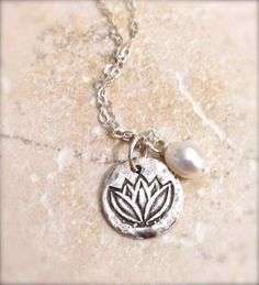 Lotus Artisan Sterling Silver Handcrafted Disc Pendant Freshwater Pearl Necklace Om Ohm Enlightenment on Etsy, $25.00