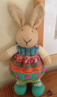 Pretty Knitted Bunny Summer Colours by blueshedcrafts on Etsy, £15.00