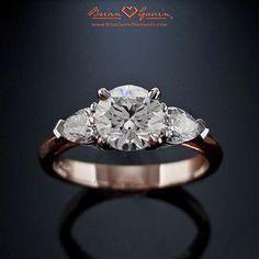18K Rose Gold The Summer, Engagement Ring | Three Stone Diamond Ring.