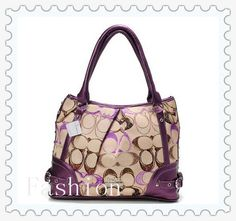 Do You Want To Enjoy High Quality Of Coach Poppy In Signature Medium Purple Totes AEG? Come Here! #ValueSpree #Coach