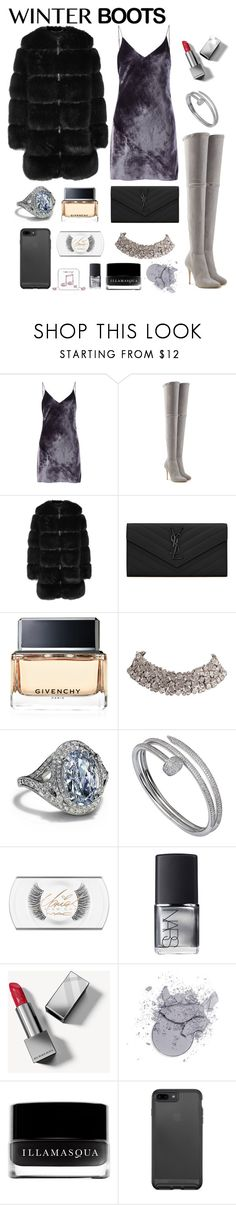 """Winter Boots"" by iii-i-mcmxcv ❤ liked on Polyvore featuring Fleur du Mal, Balmain, Givenchy, Yves Saint Laurent, Tiffany & Co., Cartier, MAC Cosmetics, NARS Cosmetics, Burberry and Illamasqua"