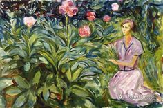 Edvard Munch,Woman With Peonies oil painting reproductions for sale
