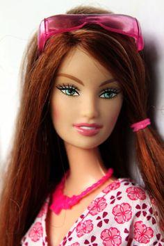 Barbie-Doll-Fashion-Fever-Drew-Redhead-Redressed-Pink-Glasses-Beautiful-Rare