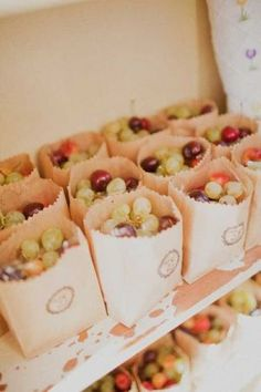 Grape finger foods for a picnic party. put strawberry's in the bag for a strawberry picnic party Summer Wedding Favors, Wedding Favours, Party Favors, Wedding Ideas, Fruit Wedding, Wedding Blog, Wedding Picnic, Wedding Centerpieces, Summer Weddings