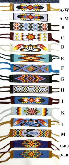 Beaded Bracelet With Suede Backing & Ties Beading loom images Native Beading Patterns, Seed Bead Patterns, Beaded Jewelry Patterns, Weaving Patterns, Bead Loom Designs, Beadwork Designs, Indian Beadwork, Native Beadwork, Loom Bracelet Patterns