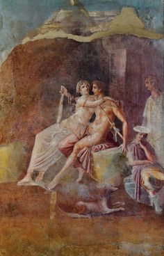 """""""Mars and Venus"""", fresco from the Casa del Citarista (Detail), Third style, Now in Naples Archaeological Museum"""