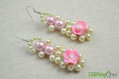 DIY beaded earrings- pearl and rose earring DIY- Pandahall.com