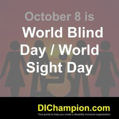 October 8 is World Blind Day / World Sight Day www.dichampion.com #disability #autism #disabilities #inclusion #accessibility #disabilityinclusion #valuable500 #disabilityin World Sight Day, October 8, Disability, Blind, Autism, Growing Up, Shutters