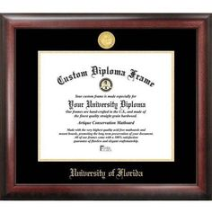 University of Florida 11.5 inch x 16 inch Gold Embossed Diploma Frame