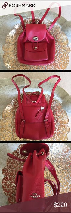 "NEW AUTHENTIC COACH MINI LEATHER BACKPACK Polished pebble leather in red..inside zip, cell phone and multifunction pockets..turnlock closure, fabric lining and adjustable straps..outside pocket with turnlock closure..dimensions: 10""x10""x4""..guaranteed brand new without tag..refer to pics 7 & 8 Coach Bags Backpacks"