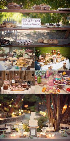 Muchos dulces y decoraciones de mesas de postres para bodas