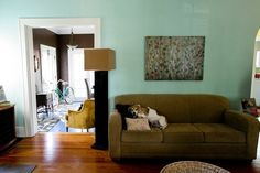 Cure Color Shyness: 14 Real-life Fearless Paint Colors to Push Your Style - teal wall is Valspar Grand Hotel Mackinac Blue