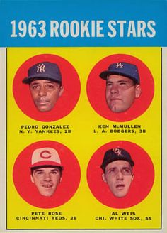 1963 Topps Pete Rose/Rookie Stars PSA EX One can only feel for Al Weis, Ken McMullen and Pedro Gonzalez should - Available at Sunday Internet Sports. Baseball Cards For Sale, Football Cards, Baseball Card Template, Pete Rose, Star Wars, Mint, Mickey Mantle, Philadelphia Phillies, Cincinnati Reds