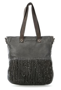 Handtasche Leder grau 37 cm