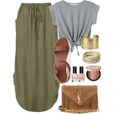 Casual summer outfit, Maxi skirt with side tabs, knotted shirt, gold and bronze accents by hope-riley on Polyvore featuring polyvore, fashion, style, Ally Fashion, Yves Saint Laurent, Blue Nile, Steve Madden and Bobbi Brown Cosmetics
