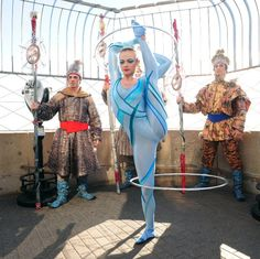 "November 19, 2010: cast members from ""Wintuk"" by Cirque Du Soleil perform on the 86th floor observatory of the Empire State Building. ""Wintuk"" is performing at the Theater at Madison Square Garden."