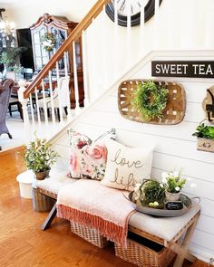 🙌 Tap the image to recreate this beautiful design by Simple Joy At Home! Entryway Decor, Wall Decor, Spring Home Decor, Bench With Storage, Ottoman Bench, Farmhouse Chic, Porch Swing, Living Room Furniture, Joy