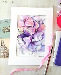 artist Xtina Gavrilova WATERCOLOR PAINT PAINTING DRAW DRAWING FLOWERS FLOWER PINK VIOLET PURPLE ГОРТЕНЗИЯ HYDRANGEA ILLUSTRATION FLORA BOTANICAL ART АКВАРЕЛЬ ЖИВОПИСЬ РИСУНОК РОЗА ЦВЕТЫ #watercolorarts