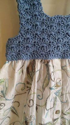 Crochet bodice refashioned shirt dress by EmmaJaneHandmade Sweet little girls Size 2 dress. Crochet bodice in a lovely soft bamboo/wool blend.cute crochet bodice pillowcase dress simple to makekdb - PIPicStatsLinen and cotton dress, bridesThis Pin wa Crochet Baby Bibs, Crochet Yoke, Crochet Vest Pattern, Crochet Fabric, Crochet Collar, Baby Girl Crochet, Crochet Woman, Crochet Baby Booties, Crochet For Kids