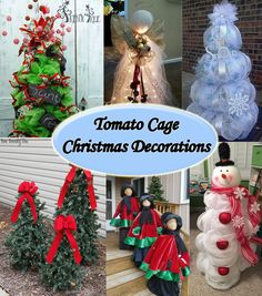 Tomato Cage Christmas Decorations These are all so fun! I love how many different ways these tomato cages are transformed into amazing Christmas Decorations. Follow the links provided to see there source or full tutorial. Tomato Cage Christmas Trees tutorial from Two Twenty One Tomato Cage Snowman via Tina Davis on Pinterest Christmas Card Holder via Christmas Lights Ect. Tomato Cage Snowman via Gina Singletary on Pinterest Christmas Trees from Sow and Dipity Pine Cone Tree via Trendy Tree…