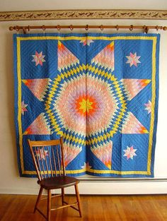 Vintage Pennsylvania 1950's Satellite Star Quilt All Hand Quilted  Wall FOLK ART