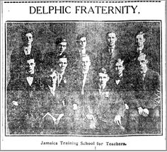 The Gamma Chapter of Delphic existed at the now defunct Jamaica Normal School in Jamaica, Queens, NY. This is the only known pic of the group back in (Source: Brooklyn Daily Eagle. Normal School, Sigma Tau, Training School, Fraternity, Jamaica, Brooklyn, Queens, Eagle, Group