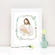 I am now offering printables of my Christ and Baby art in different colored blankets! Right now I have this beautiful pink blanket up in my shop for $10 instant download.  www.dillydesignsart.com