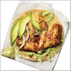 Blackened Tilapia Baja Tacos Recipe-P liked it and K ate it just as it was served!  Omitted jalapeño, used wild cod instead of talapia, used red onion instead of white.