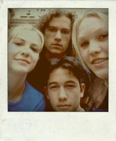Julia Stiles, Heath Ledger, Joseph Gordon-Levitt, and Larisa Oleynik take a Polaroid selfie on the set of '10 Things I Hate About You, 1999