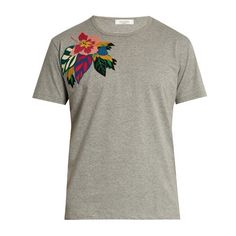 Valentino Floral-appliqué cotton T-shirt ($625) ❤ liked on Polyvore featuring men's fashion, men's clothing, men's shirts, men's t-shirts, mens floral shirts, mens grey t shirt, mens slim fit shirts, mens cotton shirts and mens grey shirt