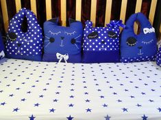 Blue and white crib bedding Custom  baby bedding set bumpers