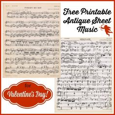 Free Printable Antique Printable Sheet Music for Valentine's Day from KnickofTime.net