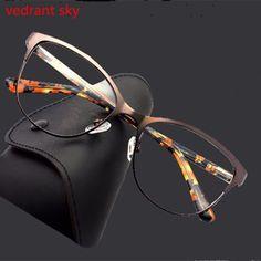 fb809151fd8 Cat Eye Fashion Metal Glasses Frame Women Optical Retro Clear Computer Myopia  Brand Designer Prescription Eyewear