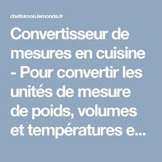 Convertisseur de mesures en cuisine - Pour convertir les unités de mesure de poids, volumes et températures entre le système métrique et les mesures anglo-saxonnes.