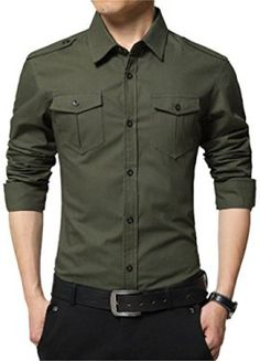 1dd78862f26 Buy JZOEOEU Men s Casual Dress Shirt Long Short Sleeve Slim Fit Button Down  Shirts - Army Green 6620 - and shop more latest Men s Shirts all over the  world.