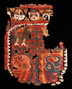 dyed wool + undyed linen | 56 cm × 43 cm | figurative | Egypt | Turkish Tulunid dynasty: c. 9th-10th century