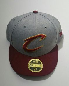 a994b243f64 Cleveland Cavs New Era 59Fifty Heather Gray Maroon Brim Fitted Hat Size 7  3 8