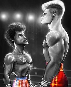 Rocky Balboa And Ivan Drago Funny Caricatures, Celebrity Caricatures, Comic Books Art, Comic Art, Book Art, Funny Horse Videos, Nurse Cartoon, Cool Pictures, Funny Pictures