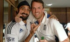 The Kings of Spin: Monty Panesar and Graeme Swann celebrate England's first Test series win in India since 1984/85. Photograph: James Anderson/Twitter