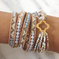 Periwinkle Mix Beaded Wrap Bracelet on Beige Leather - Chan Luu