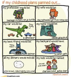 If my life consisted of childhood plans... geek, balls, childhood plan, dinosaur, dream, colors, ninja turtles, true stories, kid