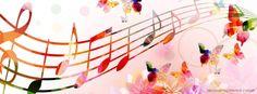 Deixe seu facebook no ritmo com essa imagem de topo cheia de borboletas e musicalidade. #Facebook #ToposFacebook #CapasFB #FB