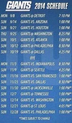 New York Giants 2014 Schedule Go Big Blue!