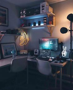 Cozy Stay at Home with Gaming Room to Make Your Happy Home Office Setup, Home Office Design, House Design, Cozy Office, Loft Design, Office Workspace, Studio Design, Office Ideas, Computer Desk Setup